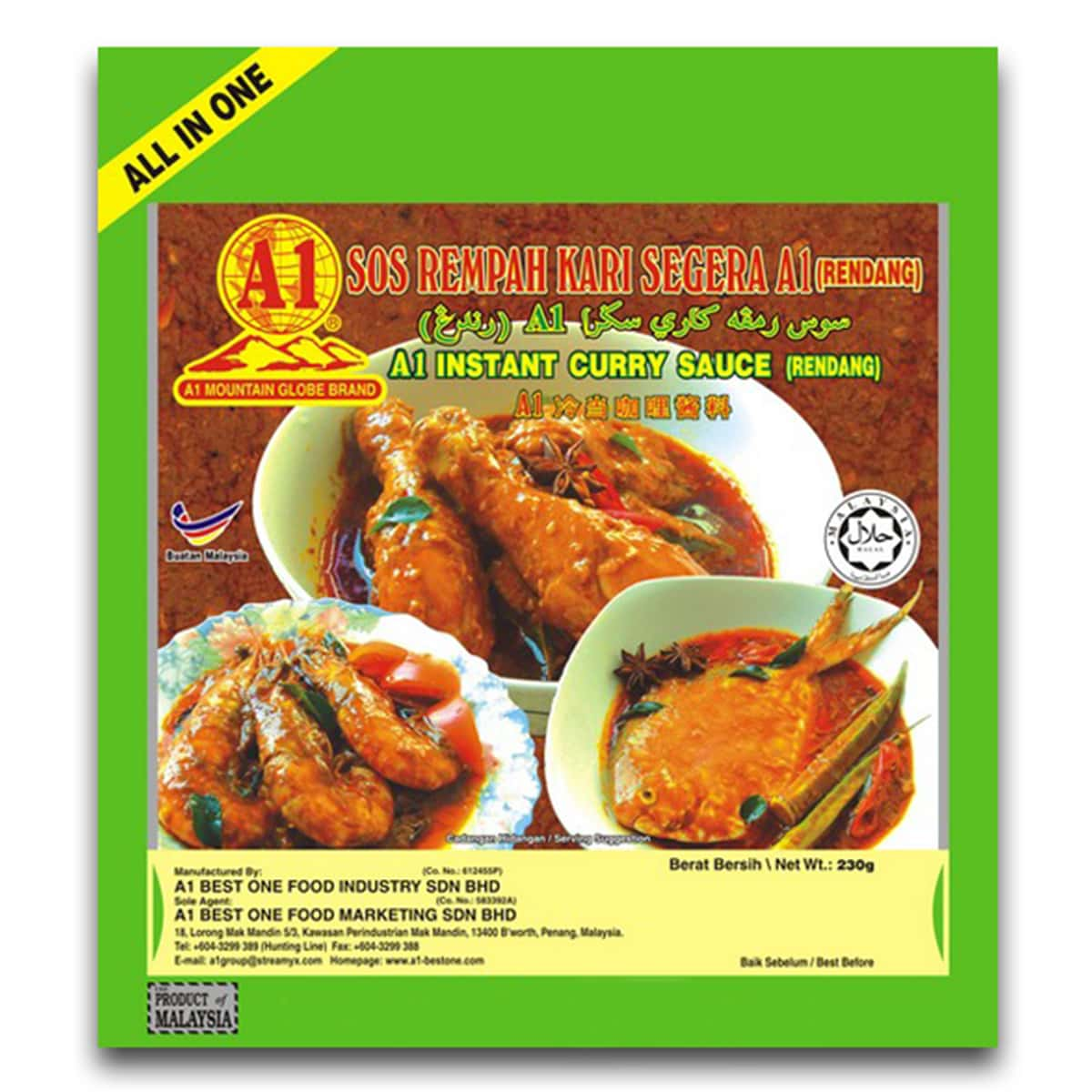 Buy A1 Mountain Globe Brand Instant Curry Sauce (Rendang) - 230 gm