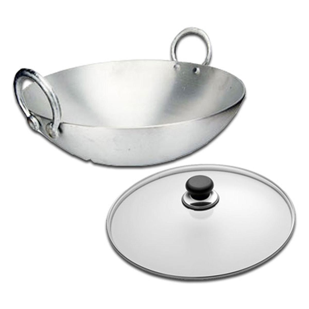 Buy IAG Products Cooking Utensils Wok (Aluminium Kadai) with Lid [large] - 2.5 kg