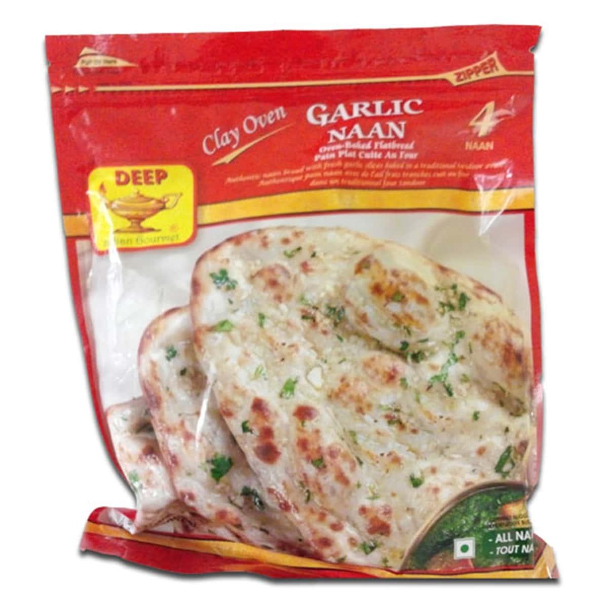 Buy Deep Foods Garlic Naan 4 Pcs (Frozen) - 340 gm