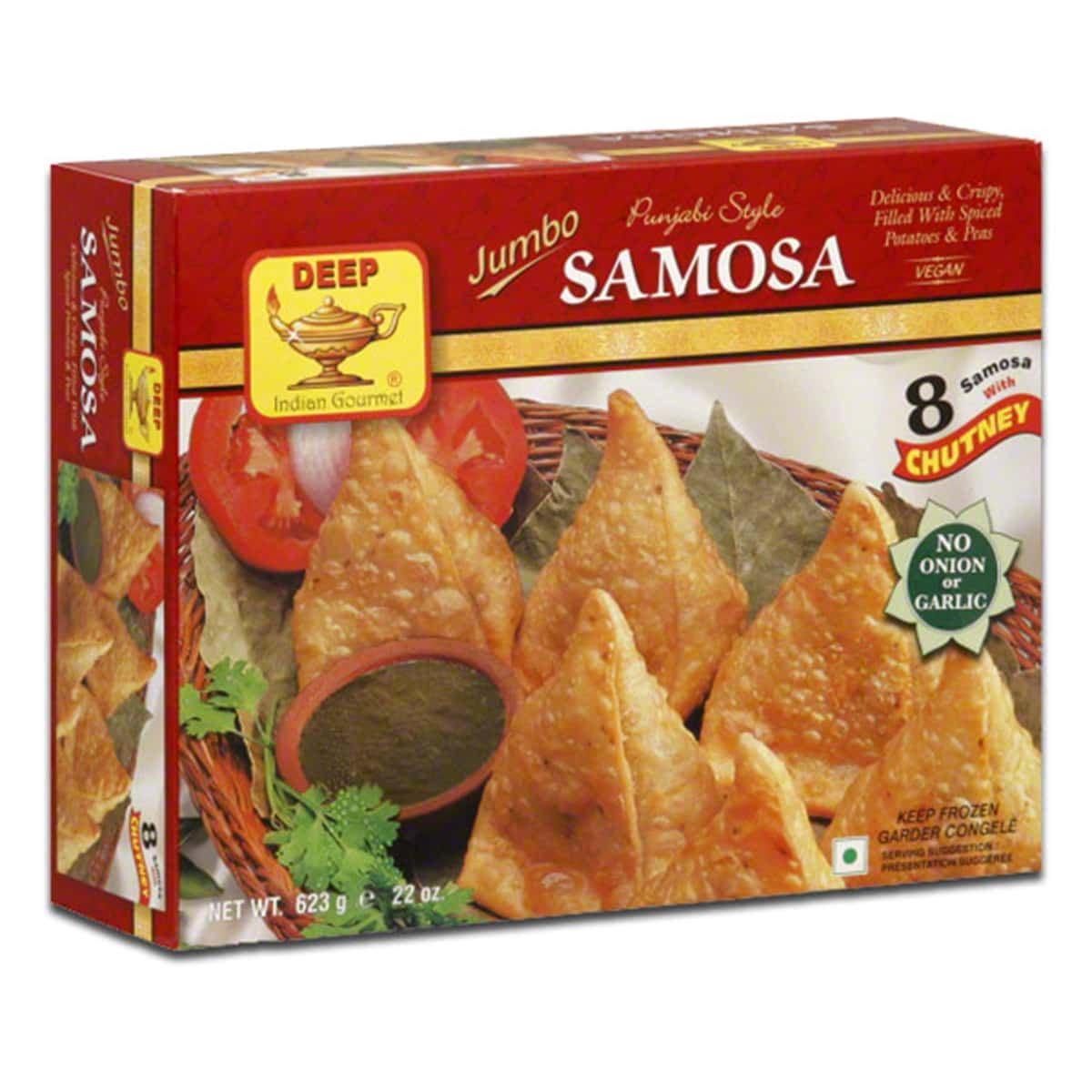 Buy Deep Foods Jumbo Punjabi Style Samosa with Chutney 8 Pcs (Frozen) - 623 gm