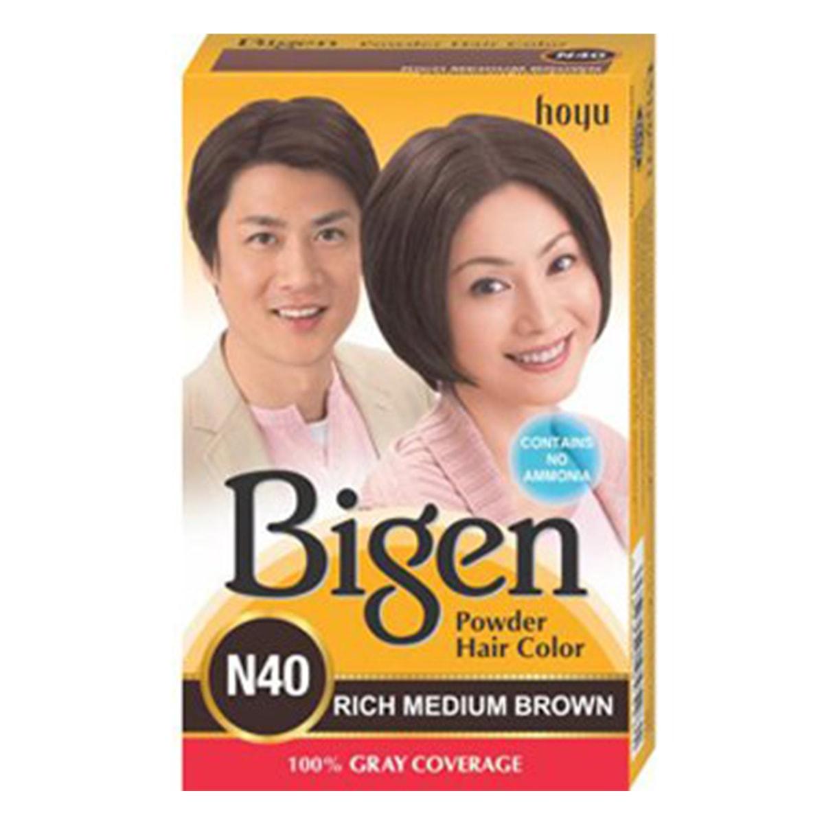 Buy Hoyu (Bigen) Bigen Powder Hair Color N40 (Rich Medium Brown) - 6 gm