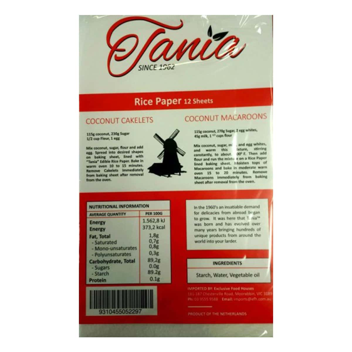 Buy Tania Rice Paper (12 Sheets) - 40 gm